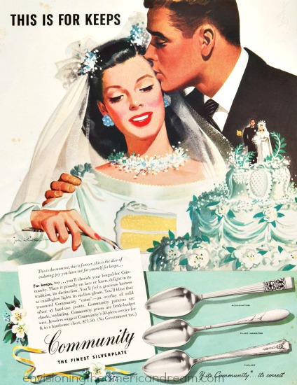 vintage illustration bride and groom cutting cake