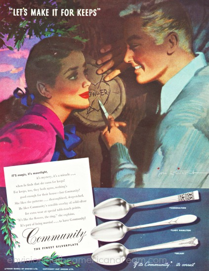 community silver ad vintage illustration man and girl