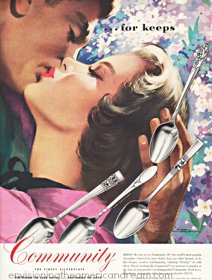 vintage Jon Whitcomb illustration man and woman kissing