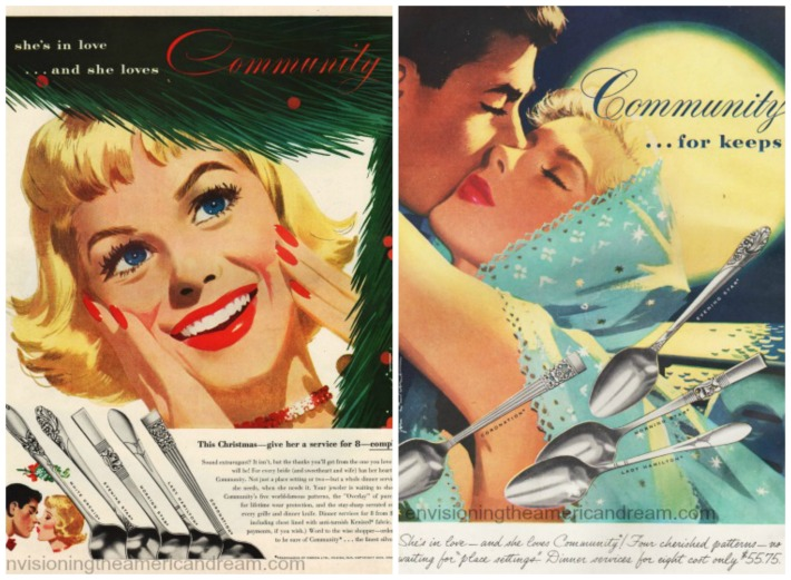 vintage community silverplate ads illustration women