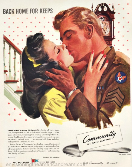 community silver ad WWII Vintage illustration soldier kissinghis girl