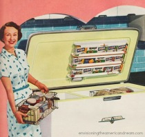 vintage woman home freezer