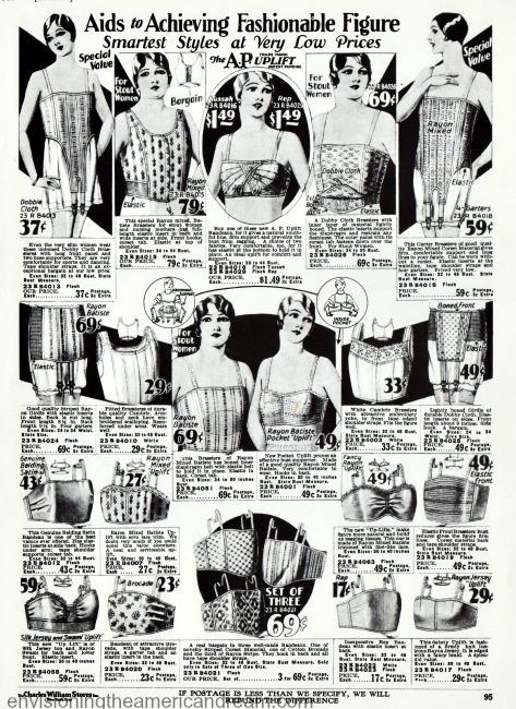 vintage lingerie 1920s corsets bandeaus