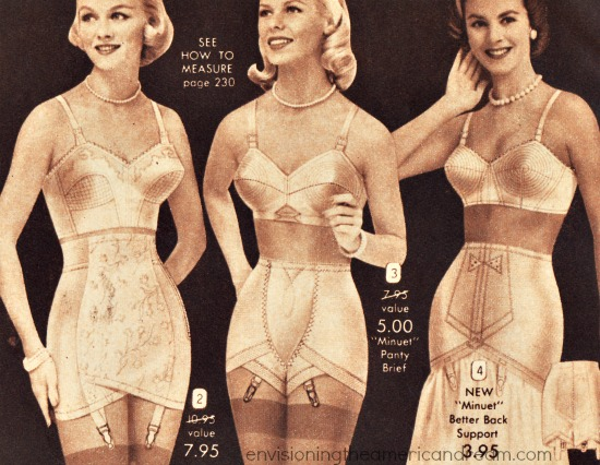 vintage women in girdles and bras