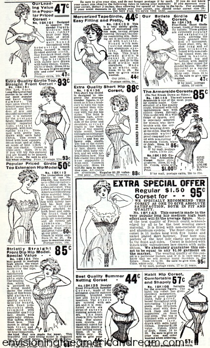 Vintage Fashion Catalog illustrations Corsets Sears Roebuck  1903