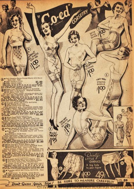 vintage fashion catalog illustration lingerie corsets girdles 1929