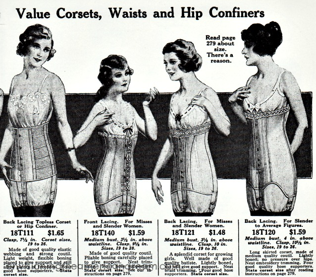 vintage fashion catalog illustration corsets lingerie 1915