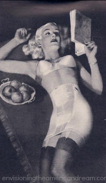 vintage illustration woman reading book in lingerie formfit 1949