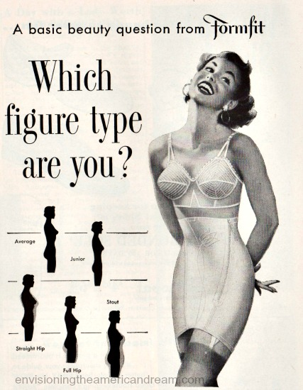 1950s lingerie formfit ad illustration woman in girdle and bra