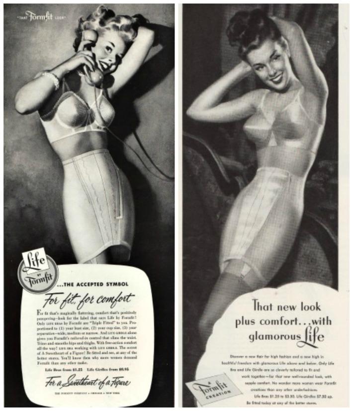 vintage illustration ads women in lingerie girdles and bras