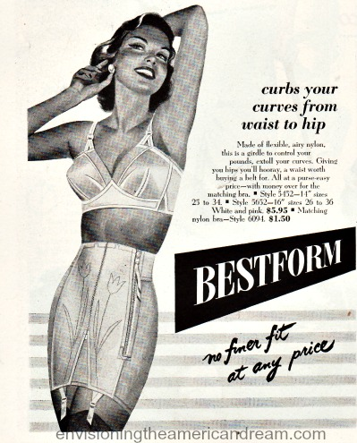 vintage ad Bestform girdle illustration woman in bra and girdle