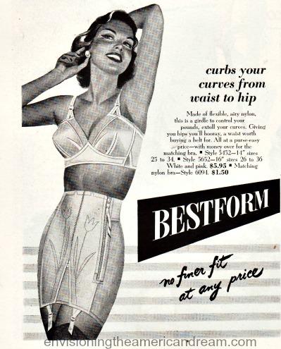 vintage ad Bestform girdle illustration woman in bra and girdle
