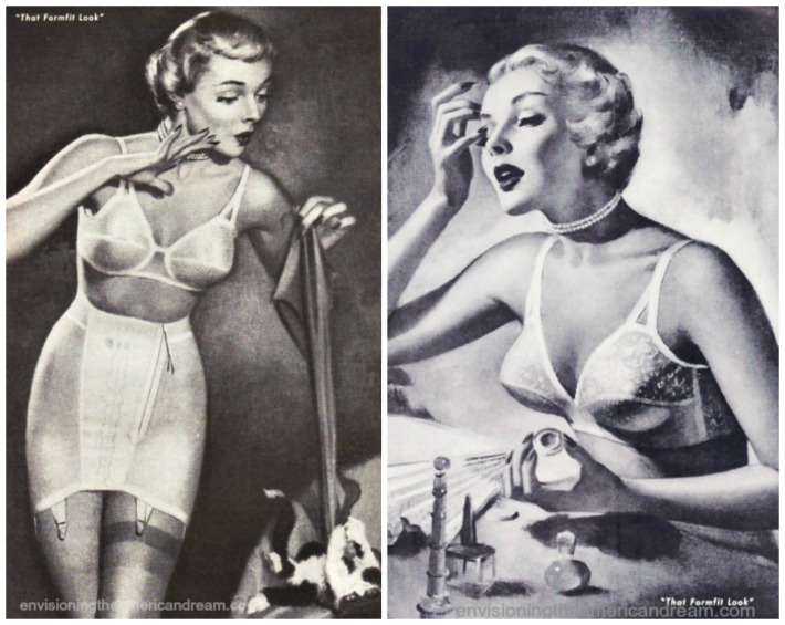 women in Lingerie girdles bras illustration 1950s