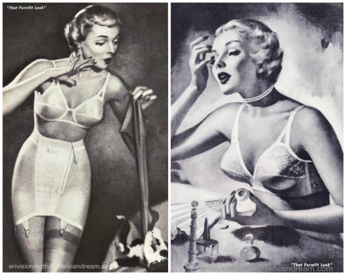 women in Lingerie girdles bras illustration 1950s