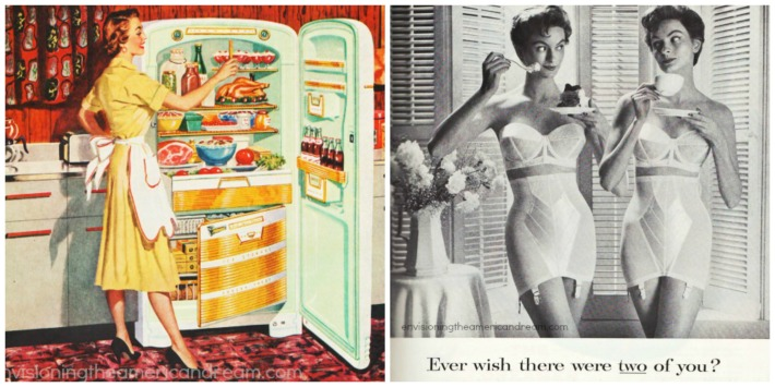 vintage illustration 1950s housewife refrigerator and 2 women in girdles eating