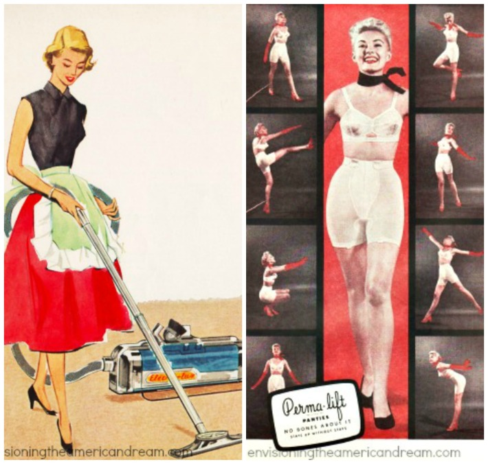vintage 1950s women vacuuming and in girdle and bra