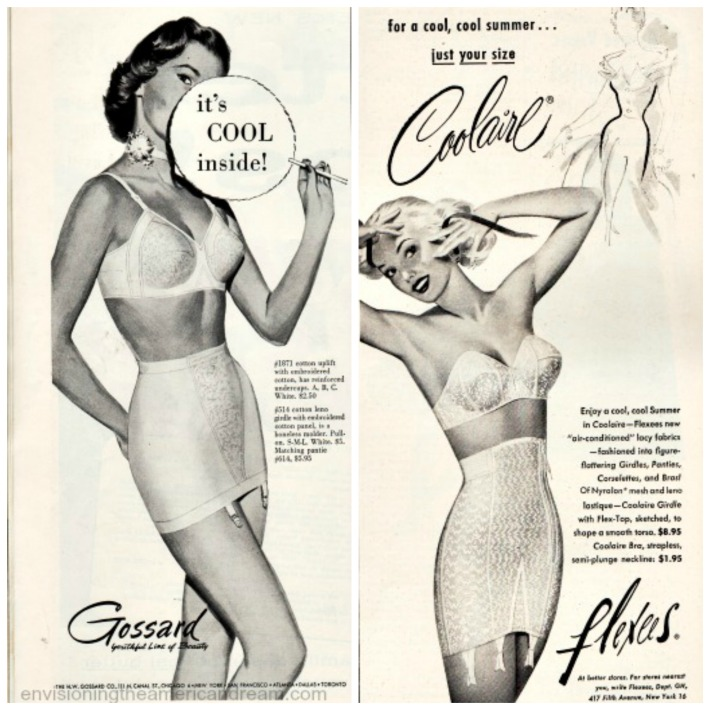 vintage lingerie ads illustration 1950s  women in girdles and bras