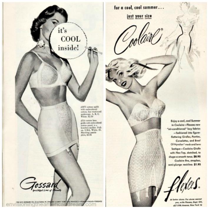 vintage lingerie ads illustration 1950s  women in girdles and bras