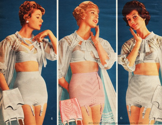 vintage catalog image women in girdles 1959