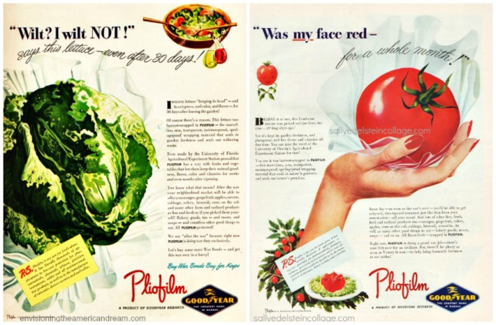 vintage ads Pliofilm vegetables 1940s