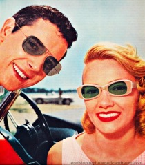 vintage image men and woman in sunglasses 1960