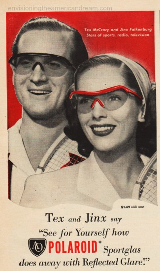 Tex McCray and Jinx Falkenberg wear sunglasses 1940s advertisement