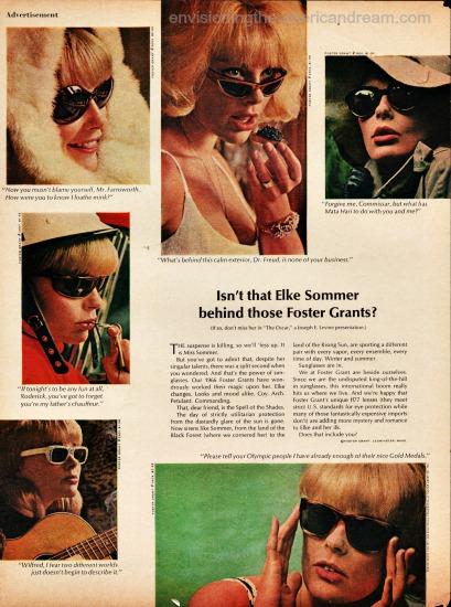 vintage sunglasses foster grant ad Elke Sommer