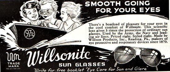 vintage sunglasses ad illustration 1941