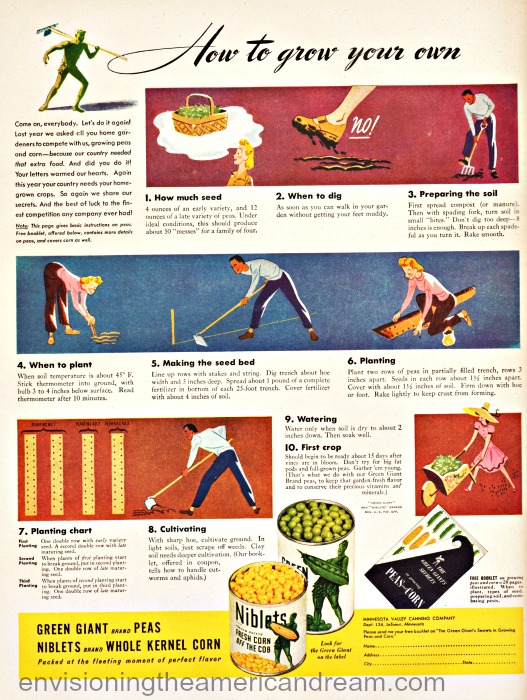 WWII Green Giant ad victory garden tips