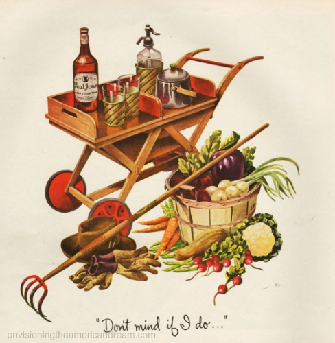 WWII Victory Garden illustration bushel basket and whiskey