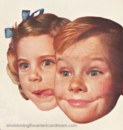1950s happy children smiling licking lips
