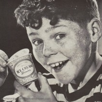 Vintage boy eating Ice Cream