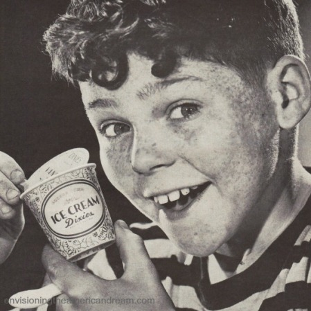 picture of boy eating ice cream dixie cup