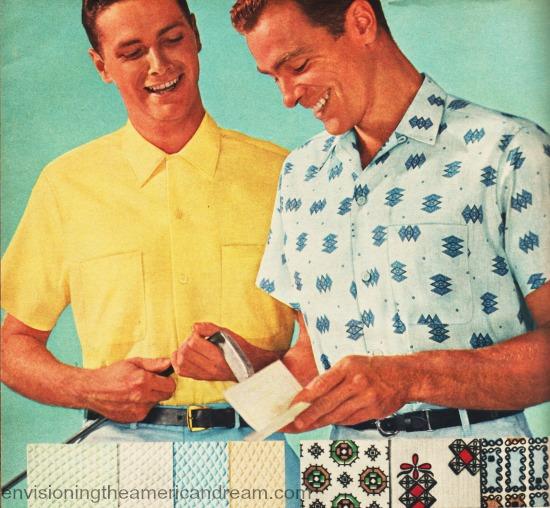 vintage picture 1960s men in sportshirts