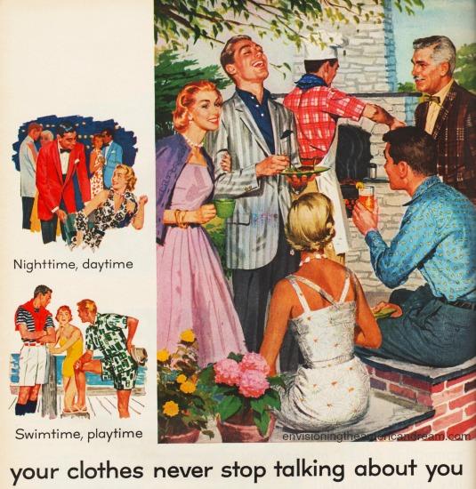 vintage illustration suburban barbecue