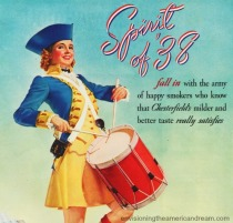 vintage woman dressed in revolutionary war outfit drumming