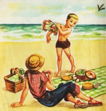 vintage illustration at the beach 1950s