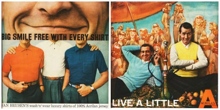 vintage mens fashions Acrilan short shirt Ads 1956