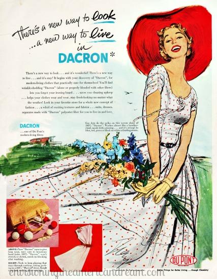 Vintage womens fashion 1950s Vintage ad Dacron 1953