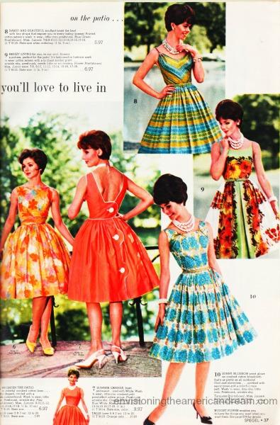 Vintage women's fashion dresses 1961 Sears catalog
