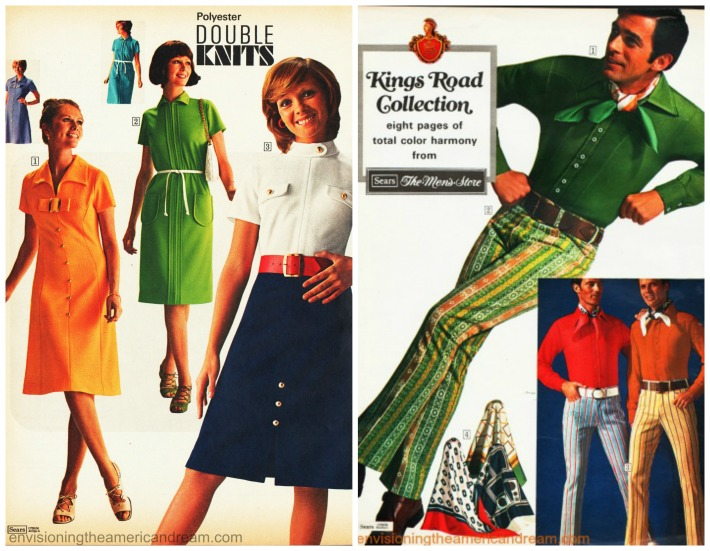 Vintage men and womens fashion polyester 1970s