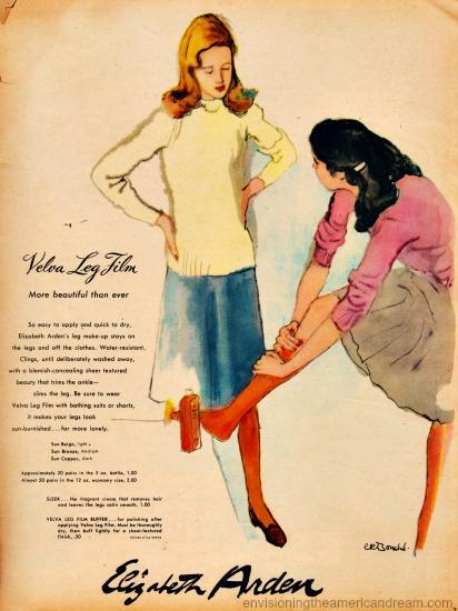 Vintage ad Elizabeth Arden Velva Leg Film