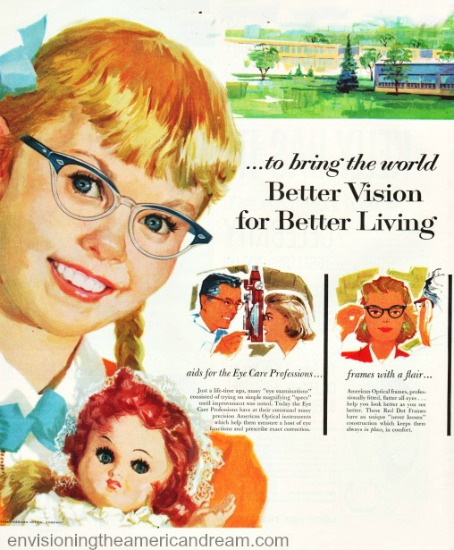 vintage 1950s  ad illustration little girl wearing glasses