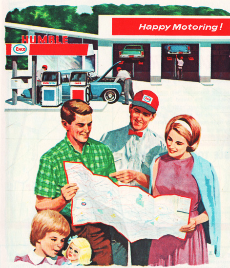 Vintage Illustration family maps gas station