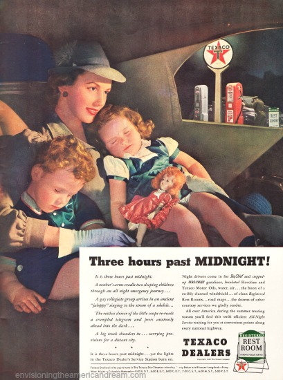 vintage illustration 1940 Mother and 2 children in car
