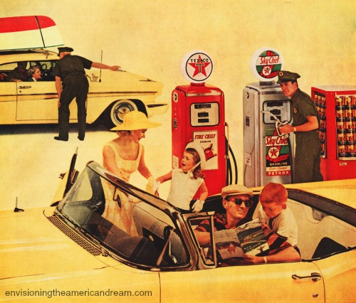 vintage image 1950s family in car at gas station