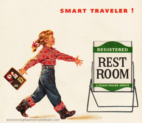 vintage illustration girl walking towards gas station rest room sign
