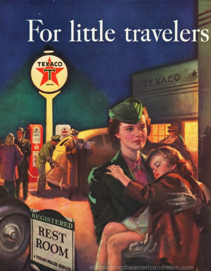 Vintage Ad Texaco 1940 illustration mother and child at gas station