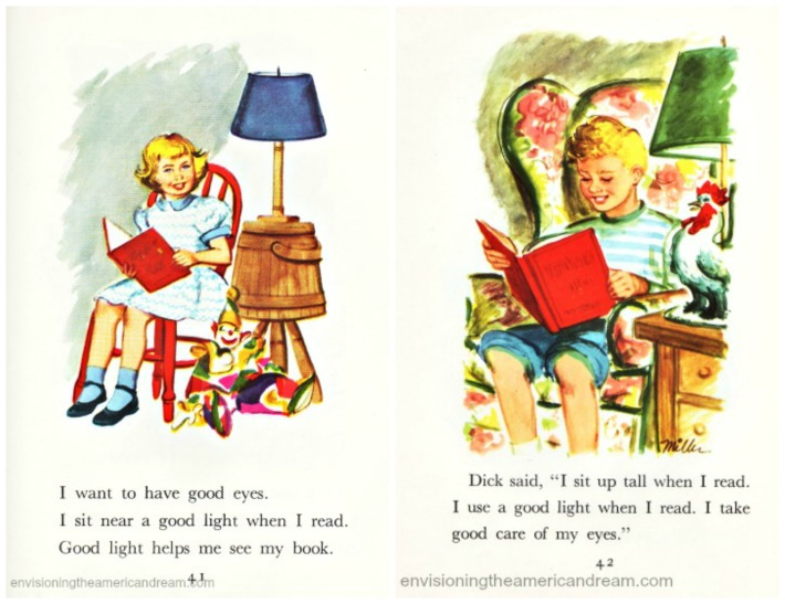 vintage schoolbook  illustrations children reading 1950s