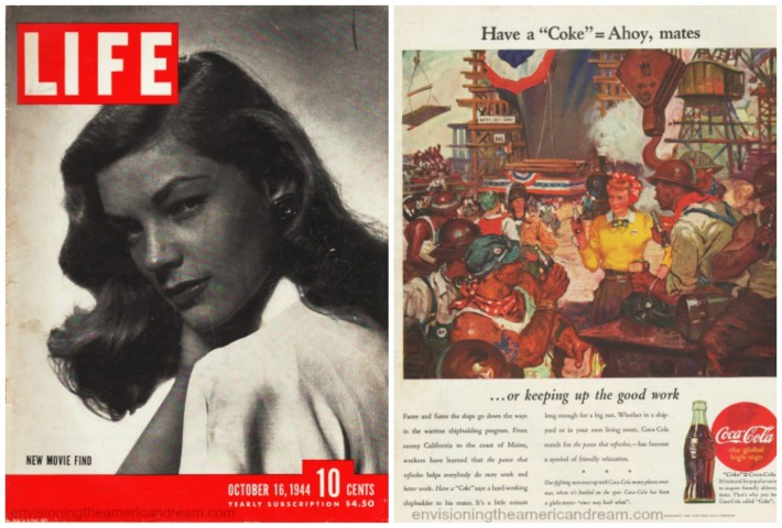 Magazine Life cover 1944  Lauren Bacall and cokead
